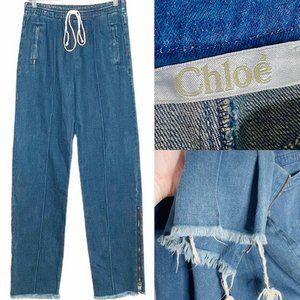 Chloé Denim High Waist Raw Hem Pants Jogger 38